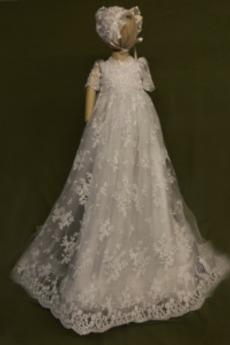 Κόσμημα Επίσημη Υψηλή καλύπτονται Δαντέλα Φόρεμα Βάπτισης