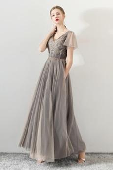 Κόσμημα τονισμένο μπούστο Μέχρι τον αστράγαλο Μπάλα φορέματα