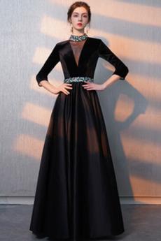 Υψηλός λαιμός Κοντομάνικο Ντραπέ Χάνει Μέχρι τον αστράγαλο Μπάλα φορέματα