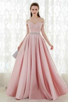 Χάνει Σατέν Φυσικό Προσαρμοσμένες μανίκια Μπάλα φορέματα