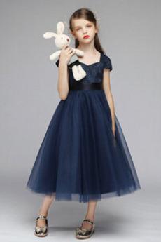 Κοντομάνικο Γραμμή Α Δαντέλα Από τον ώμο Λουλούδι κορίτσι φορέματα