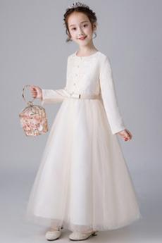 Φυσικό Τόξο Χάνει Μέχρι τον αστράγαλο Μακρύ Μανίκι Λουλούδι κορίτσι φορέματα