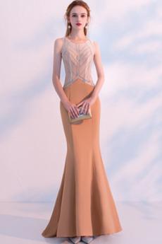 Μακρύ Κόσμημα Άνοιξη Αμάνικο Σατέν Αχλάδι Βραδινά φορέματα