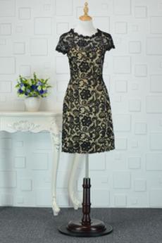 Φερμουάρ επάνω Κόσμημα Κλεψύδρα Δαντέλα επικάλυψης Κοκτέιλ φορέματα