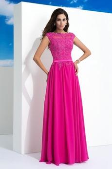 Φυσικό Δαντέλα Φερμουάρ επάνω Σιφόν Δαντέλα επικάλυψης Μπάλα φορέματα