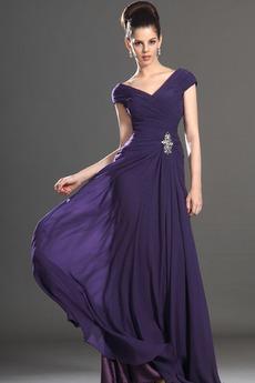 Κοντομάνικο πιέτα Προσαρμοσμένες μανίκια Μητέρα φόρεμα