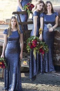 Ντραπέ Ανάποδο Τρίγωνο Κοντομάνικο παγιέτες μπούστο Παράνυμφος φορέματα