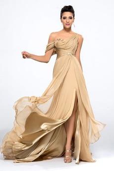 Τα μέσα πλάτη Ασύμμετρη λαιμό Καλοκαίρι Φυσικό Βραδινά φορέματα