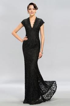 Άνοιξη Κεντήματα Φυσικό Κοντομάνικο Λαιμόκοψη V Βραδινά φορέματα