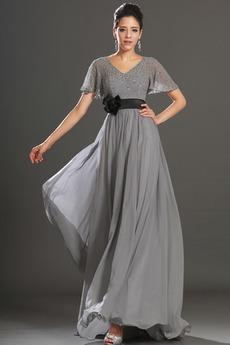 Καλοκαίρι Μέτρια Κοντομάνικο Ντραπέ Σιφόν Βραδινά φορέματα