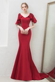 Βραδινά φορέματα Γοργόνα απλός Φυσικό Τραίνο σκουπισμάτων Δαντέλα-επάνω