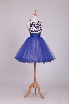 Κόσμημα Μέχρι το Γόνατο Γραμμή Α Πρησμένα Κοκτέιλ φορέματα