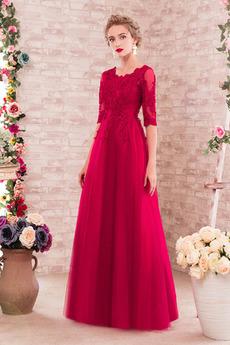Φυσικό Άνοιξη Κόσμημα Μισό Μανίκι Τούλι Δαντέλα Παράνυμφος φορέματα