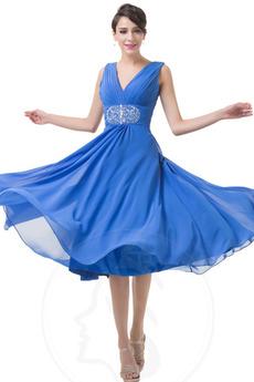 Λαιμόκοψη V Σιφόν Φυσικό Φερμουάρ επάνω Γραμμή Α Μπάλα φορέματα