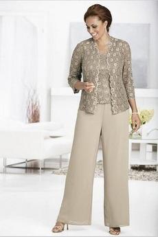 Τετράγωνο Μέχρι τον αστράγαλο Δαντέλα Κοντομάνικο Παντελόνι κοστούμι φόρεμα