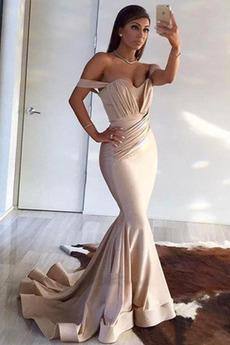 Βραδινά φορέματα Μακρύ Οι πτυχωμένες μπούστο Μικρό Ντραπέ Φυσικό Αμάνικο