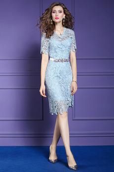 Βραδινά φορέματα Μέχρι το Γόνατο Κοντομάνικο Λαιμόκοψη V Φυσικό Χάντρες