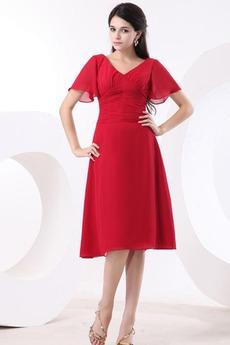 Πλισέ Μέχρι το Γόνατο Κοντομάνικο Βαθιά v-λαιμός Παράνυμφος φορέματα