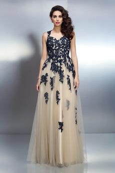 Ευρεία λουριά εξώπλατο Φυσικό Ρετρό Γραμμή Α Βραδινά φορέματα