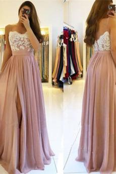 Φυσικό Τιράντες σπαγγέτι Δαντέλα επικάλυψης Μπάλα φορέματα