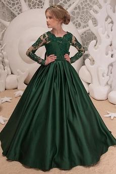 Σατέν εξώπλατο Ψευδαίσθηση κούνια Βασίλισσας Anne Λουλούδι κορίτσι φορέματα