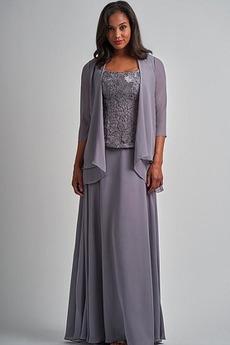 Τετράγωνο Δαντέλα Κομψό Σιφόν Υψηλή καλύπτονται Μητέρα φόρεμα
