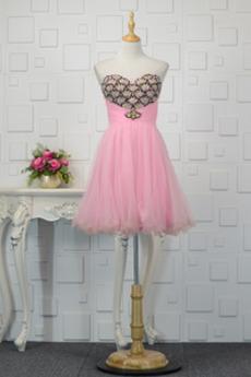 Αμάνικο Πολυτελές Κόσμημα τονισμένο μπούστο Κοκτέιλ φορέματα