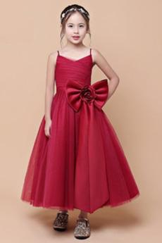 Μέχρι τον αστράγαλο Φυσικό Τιράντες σπαγγέτι Λουλούδι κορίτσι φορέματα