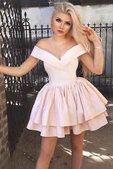 Φερμουάρ επάνω Κοντό Σατέν κλιμακωτή Φυσικό Κοκτέιλ φορέματα