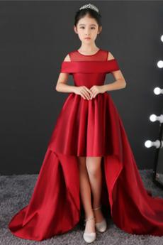 Χάνει Από τον ώμο Πλισέ Αμάνικο Ασύμμετρη Λουλούδι κορίτσι φορέματα