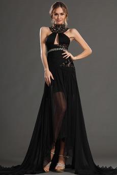 Μαύρο Κλειδαρότρυπα ντεκολτέ Σιφόν Χαμηλή Μέση Μπάλα φορέματα