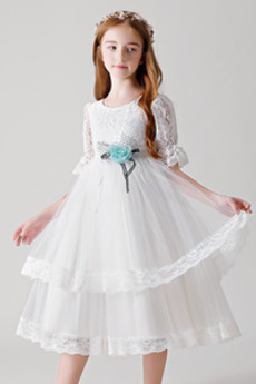 Δαντέλα κλιμακωτή Μέχρι τον αστράγαλο Φερμουάρ επάνω Λουλούδι κορίτσι φορέματα