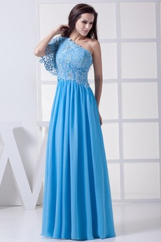 Αμάνικο Γραμμή Α Δαντέλα Ασύμμετρη λαιμό Βραδινά φορέματα