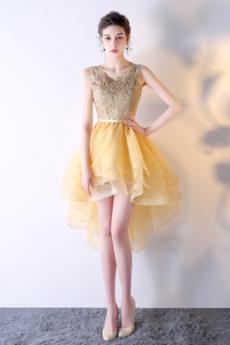 Μπάλα φορέματα Δαντέλα επικάλυψης Ασύμμετρη Φυσικό Δαντέλα Αμάνικο