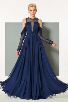 Σιφόν Αχλάδι Μήκος πατωμάτων κούνια Μακρύ Μανίκι Βραδινά φορέματα