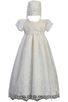 Κοντομάνικο Κόσμημα Υψηλή καλύπτονται Φυσικό Φόρεμα Βάπτισης