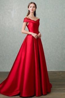 Άνοιξη Χάνει Προσαρμοσμένες μανίκια Λαιμόκοψη V Μπάλα φορέματα