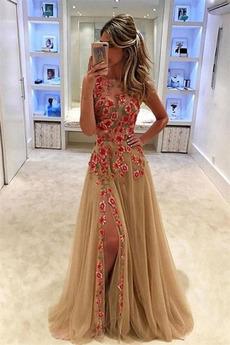 Βραδινά φορέματα Ρομαντικό Τούλι Φερμουάρ επάνω βάρκα Φυσικό Μπροστινό σχισμή