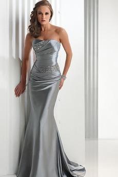 Αμάνικο Ύπαιθρος Σατέν Χάντρες Άνοιξη Στράπλες Βραδινά φορέματα