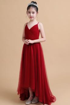 Οι πτυχωμένες μπούστο Ντραπέ Ασύμμετρη Τούλι Λουλούδι κορίτσι φορέματα