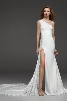 Βραδινά φορέματα Γοργόνα Μικροκαμωμένη Ρομαντικό Ένας Ώμος Τα μέσα πλάτη
