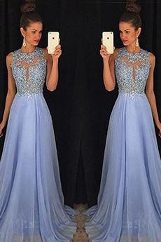 Κόσμημα Γραμμή Α Φυσικό Αμάνικο Δαντέλα Μακρύ Βραδινά φορέματα