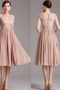 Φερμουάρ επάνω Καλοκαίρι Μέχρι το Γόνατο Βραδινά φορέματα
