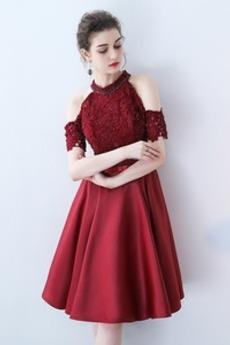 Χάντρες Κοντομάνικο Γραμμή Α Προσαρμοσμένες μανίκια Κοκτέιλ φορέματα