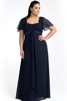 Τετράγωνο Σιφόν Μέτρια Σκοτάδι Ναυτικό Οι πτυχωμένες μπούστο Βραδινά φορέματα