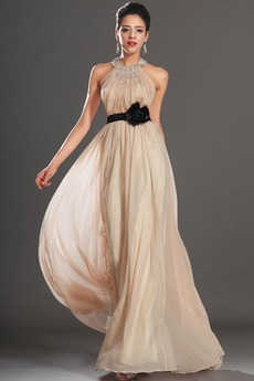 Φερμουάρ επάνω Φυσικό Χάντρες Τονισμένα ροζέτα Βραδινά φορέματα