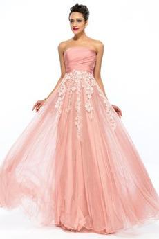 Γραμμή Α Κεντήματα Αμάνικο Σιφόν Αχλάδι Στράπλες Μπάλα φορέματα