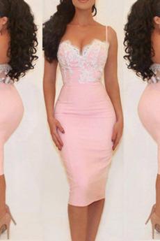Τιράντες σπαγγέτι Θήκη Αμάνικο Δαντέλα Έτος 2019 Κοκτέιλ φορέματα