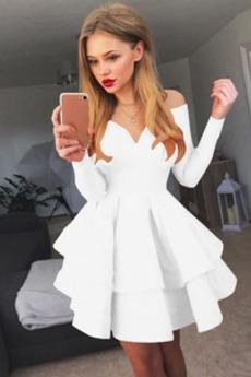Έτος 2019 κλιμακωτή Φθινόπωρο Μακρύ Μανίκι Κοκτέιλ φορέματα