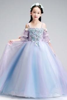 Τετράγωνο Τονισμένα ροζέτα Χαλαρά μανίκια Λουλούδι κορίτσι φορέματα